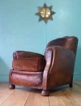 French leather deco club chair - SOLD